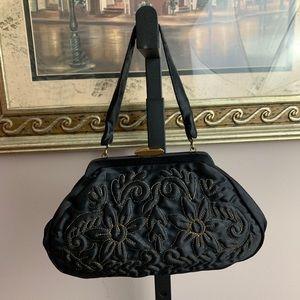 Vtg Embroidered Silk Frame Purse